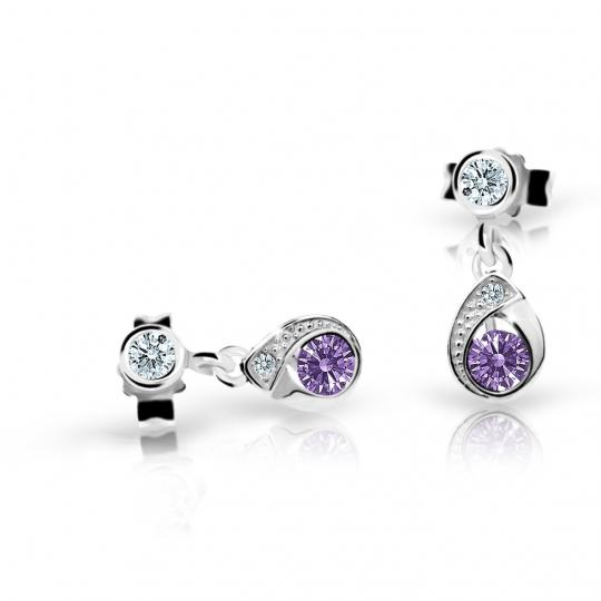 Children's earrings Danfil Drops C1898 White gold, Amethyst, Butterfly backs