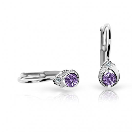 Children's earrings Danfil Drops C1898 White gold, Amethyst, Leverbacks
