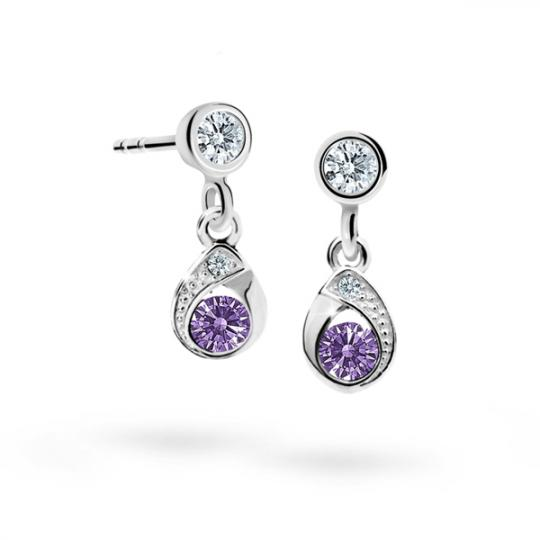 Children's earrings Danfil Drops C1898 White gold, Amethyst, Screw backs