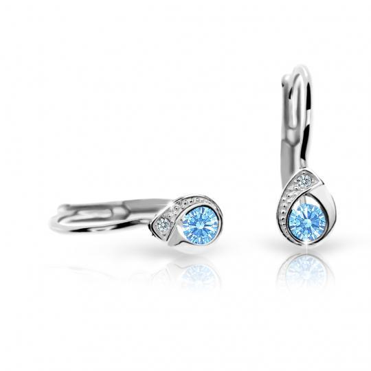 Children's earrings Danfil Drops C1898 White gold, Arctic Blue, Leverbacks