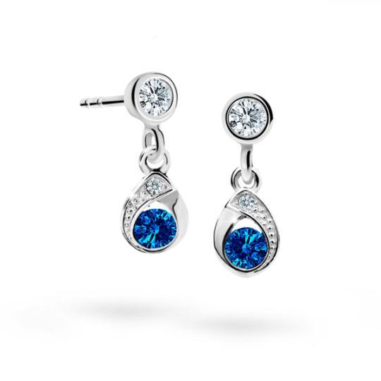 Children's earrings Danfil Drops C1898 White gold, Dark Blue, Screw backs