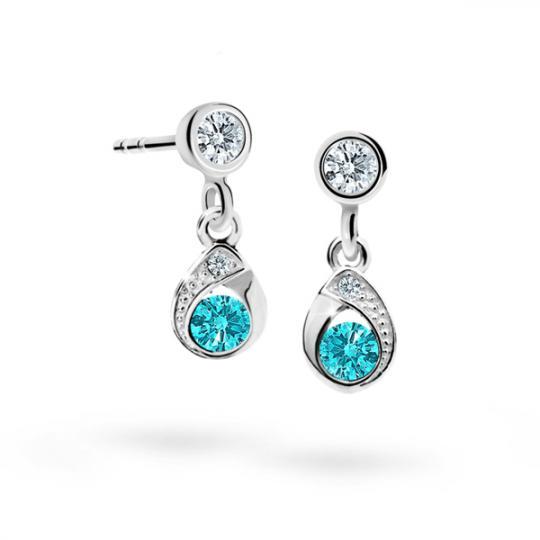 Children's earrings Danfil Drops C1898 White gold, Mint Green, Screw backs