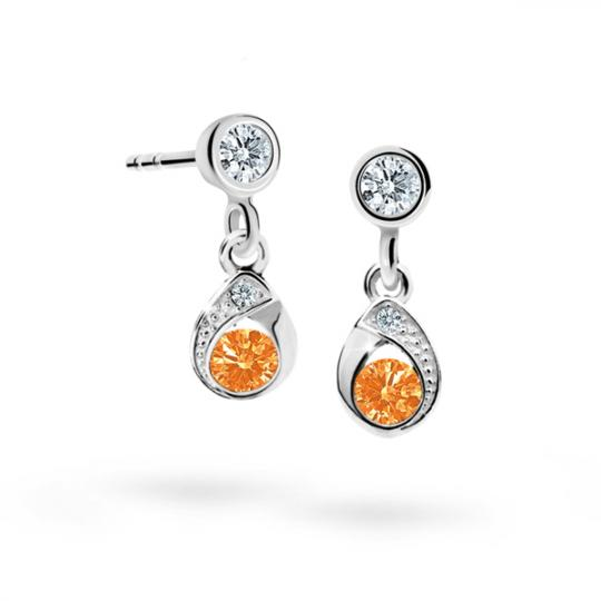 Children's earrings Danfil Drops C1898 White gold, Orange, Screw backs