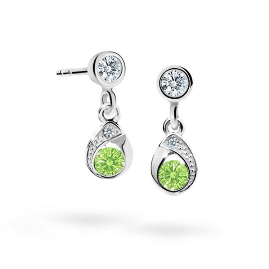 Children's earrings Danfil Drops C1898 White gold, Peridot Green, Screw backs