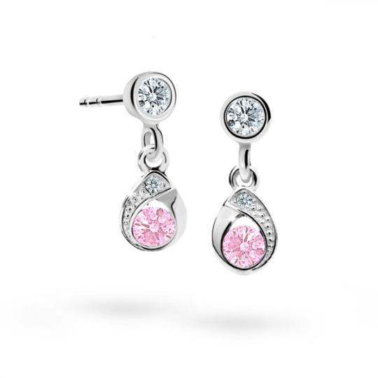 Children's earrings Danfil Drops C1898 White gold, Pink, Butterfly backs