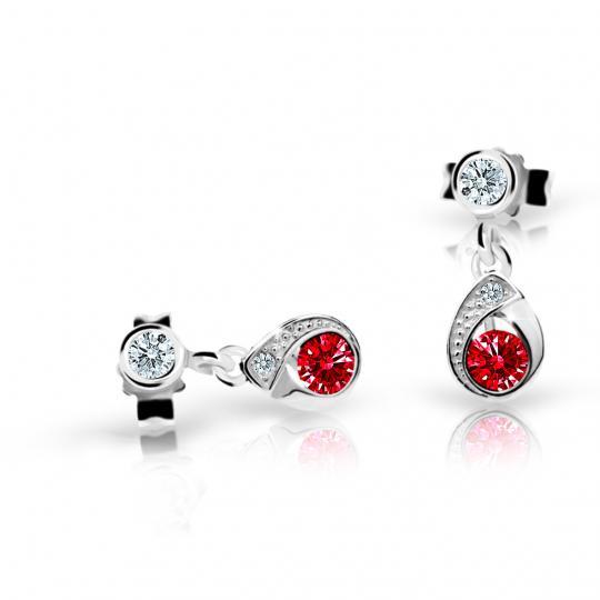 Children's earrings Danfil Drops C1898 White gold, Ruby Dark, Butterfly backs