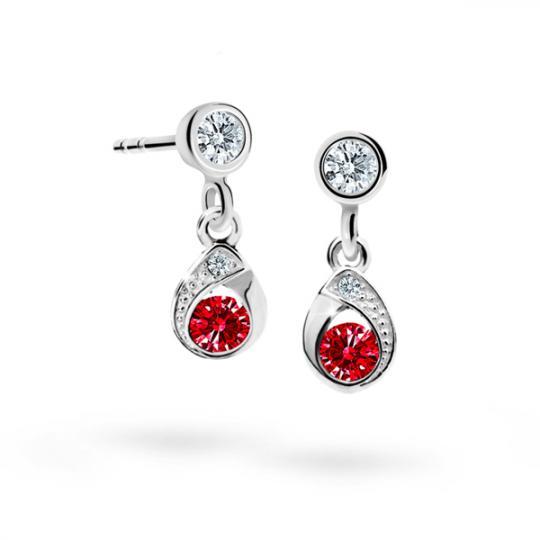Children's earrings Danfil Drops C1898 White gold, Ruby Dark, Screw backs