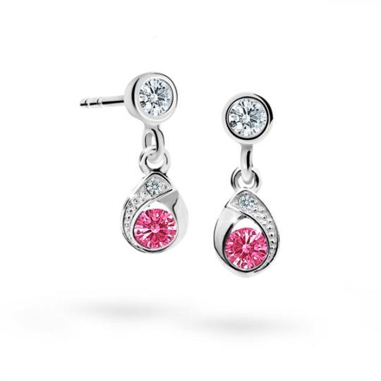 Children's earrings Danfil Drops C1898 White gold, Tcf Red, Screw backs