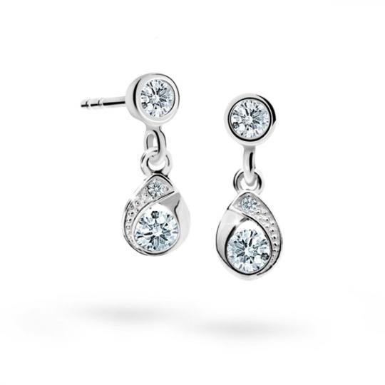 Children's earrings Danfil Drops C1898 White gold, White, Screw backs