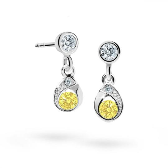 Children's earrings Danfil Drops C1898 White gold, Yellow, Butterfly backs