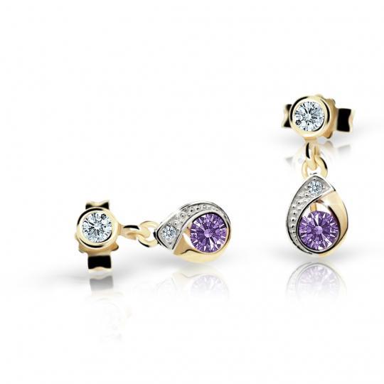 Children's earrings Danfil Drops C1898 Yellow gold, Amethyst, Butterfly backs