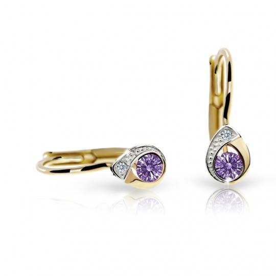 Children's earrings Danfil Drops C1898 Yellow gold, Amethyst, Leverbacks