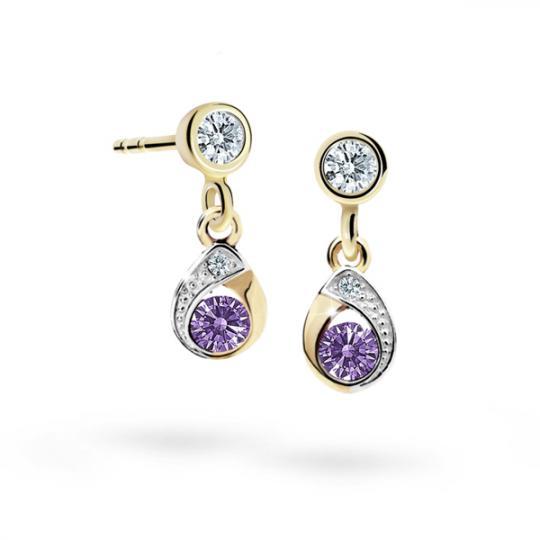 Children's earrings Danfil Drops C1898 Yellow gold, Amethyst, Screw backs