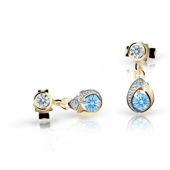 Children's earrings Danfil Drops C1898 Yellow gold, Arctic Blue, Butterfly backs