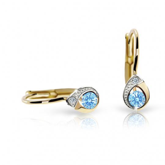 Children's earrings Danfil Drops C1898 Yellow gold, Arctic Blue, Leverbacks