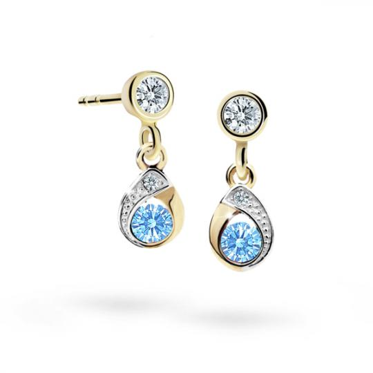 Children's earrings Danfil Drops C1898 Yellow gold, Arctic Blue, Screw backs