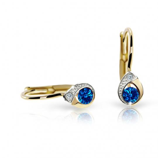 Children's earrings Danfil Drops C1898 Yellow gold, Dark Blue, Leverbacks