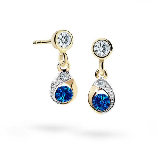 Children's earrings Danfil Drops C1898 Yellow gold, Dark Blue, Screw backs