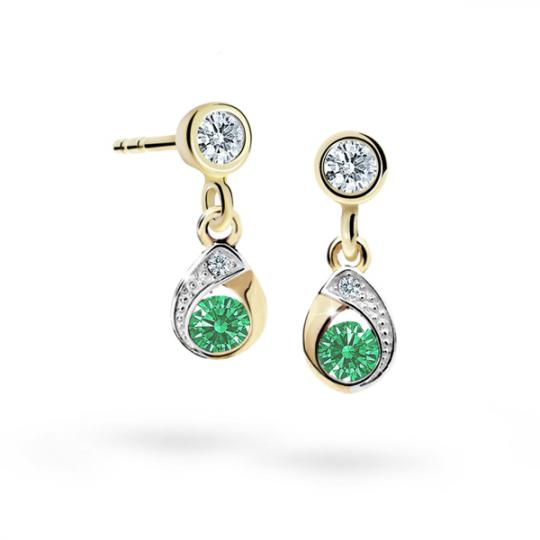 Children's earrings Danfil Drops C1898 Yellow gold, Emerald Green, Butterfly backs