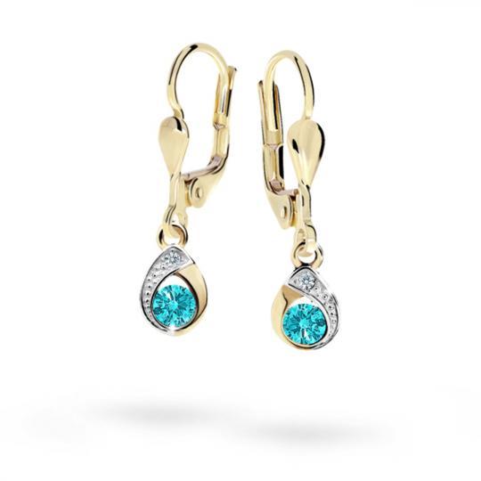 Children's earrings Danfil Drops C1898 Yellow gold, Mint Green, Leverbacks