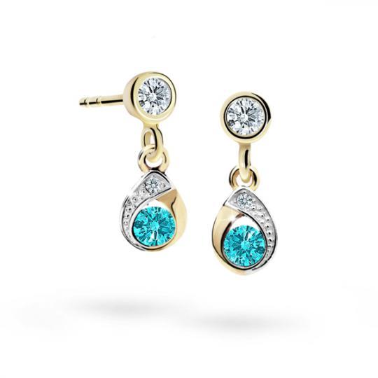 Children's earrings Danfil Drops C1898 Yellow gold, Mint Green, Screw backs