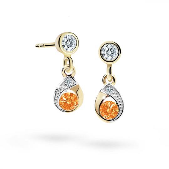 Children's earrings Danfil Drops C1898 Yellow gold, Orange, Screw backs