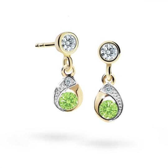 Children's earrings Danfil Drops C1898 Yellow gold, Peridot Green, Butterfly backs