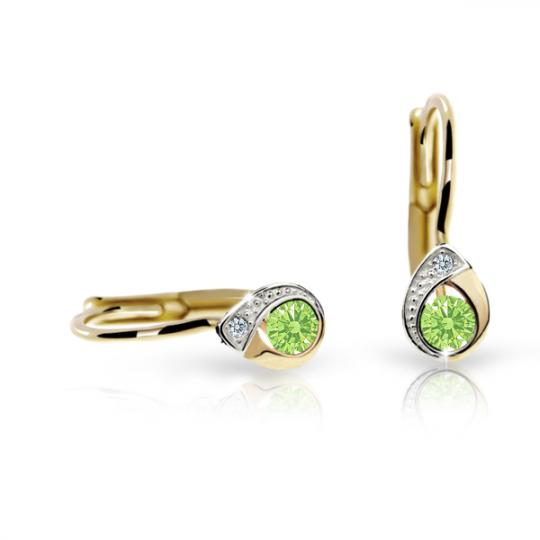Children's earrings Danfil Drops C1898 Yellow gold, Peridot Green, Leverbacks