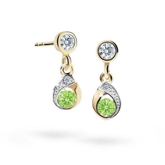 Children's earrings Danfil Drops C1898 Yellow gold, Peridot Green, Screw backs