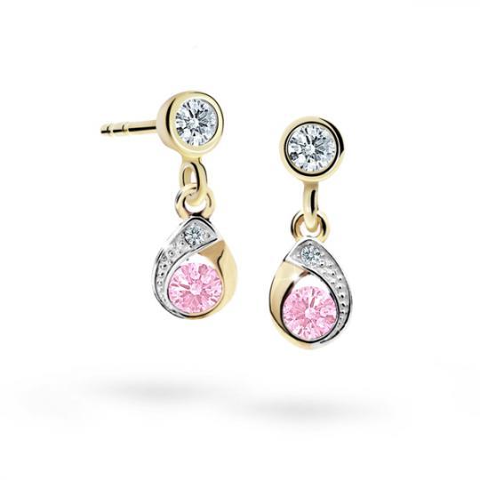 Children's earrings Danfil Drops C1898 Yellow gold, Pink, Butterfly backs