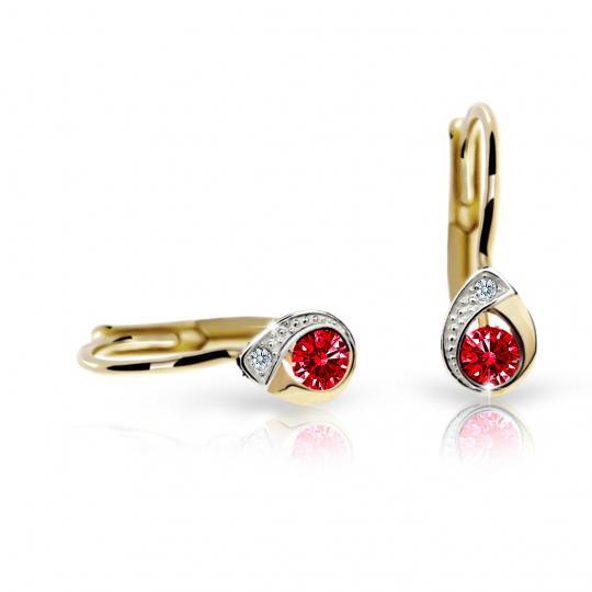 Children's earrings Danfil Drops C1898 Yellow gold, Ruby Dark, Leverbacks