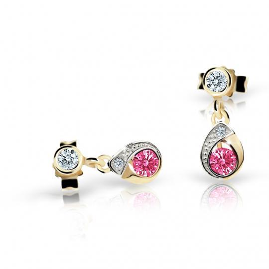 Children's earrings Danfil Drops C1898 Yellow gold, Tcf Red, Butterfly backs