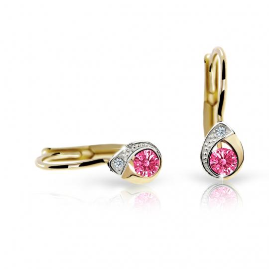 Children's earrings Danfil Drops C1898 Yellow gold, Tcf Red, Leverbacks