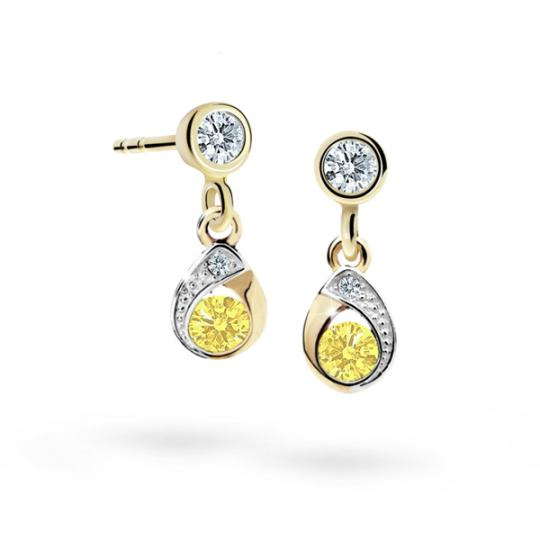 Children's earrings Danfil Drops C1898 Yellow gold, Yellow, Butterfly backs
