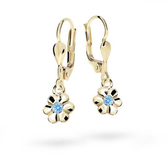 Children's earrings Danfil Flowers C1736 Yellow gold, Arctic Blue, Leverbacks