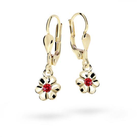 Children's earrings Danfil Flowers C1736 Yellow gold, Ruby Dark, Leverbacks