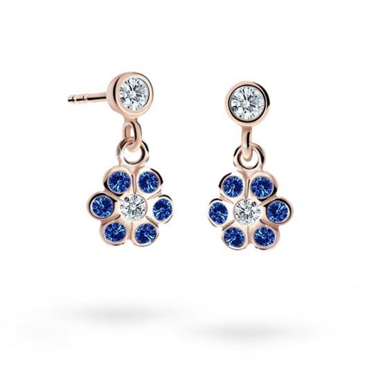Children's earrings Danfil Flowers C1737 Rose gold, Dark Blue, Butterfly backs