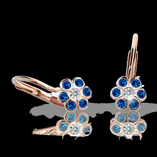 Children's earrings Danfil Flowers C1737 Rose gold, Dark Blue, Leverbacks