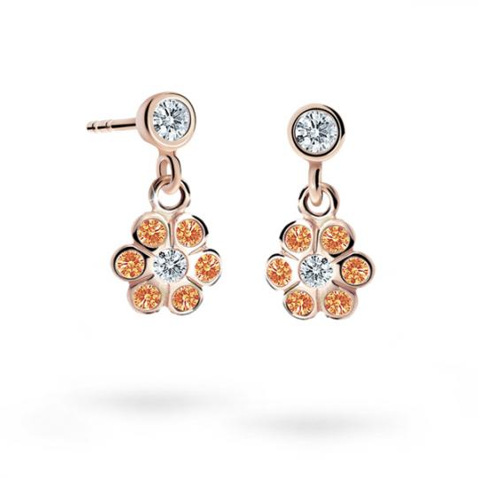 Children's earrings Danfil Flowers C1737 Rose gold, Orange, Butterfly backs