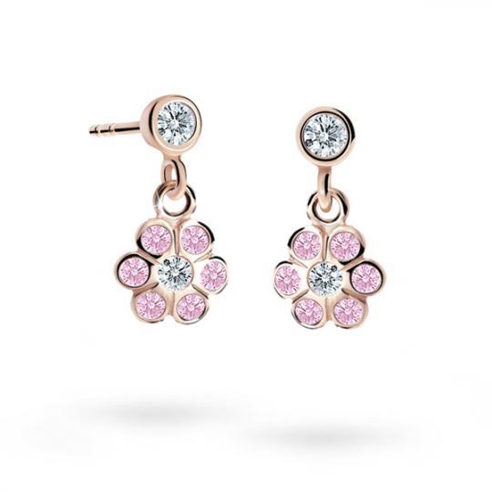 Children's earrings Danfil Flowers C1737 Rose gold, Pink, Butterfly backs