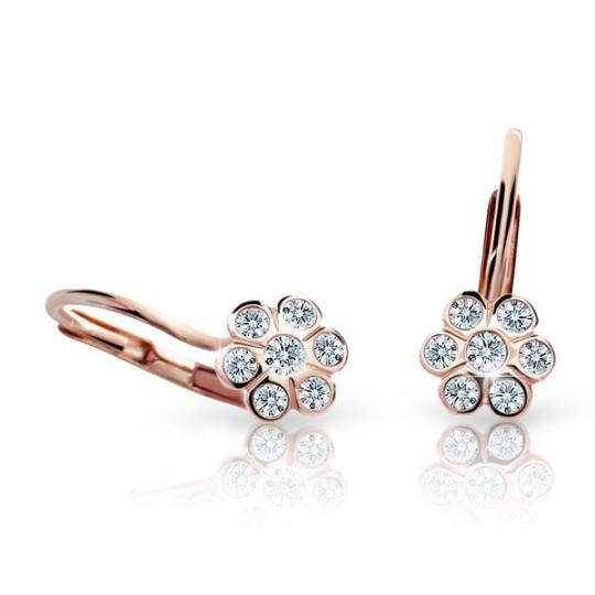 Children's earrings Danfil Flowers C1737 Rose gold, White, Leverbacks