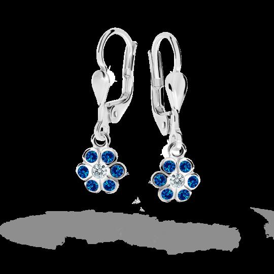 Children's earrings Danfil Flowers C1737 White gold, Dark Blue, Leverbacks