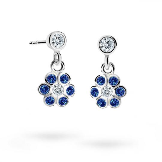 Children's earrings Danfil Flowers C1737 White gold, Dark Blue, Screw backs