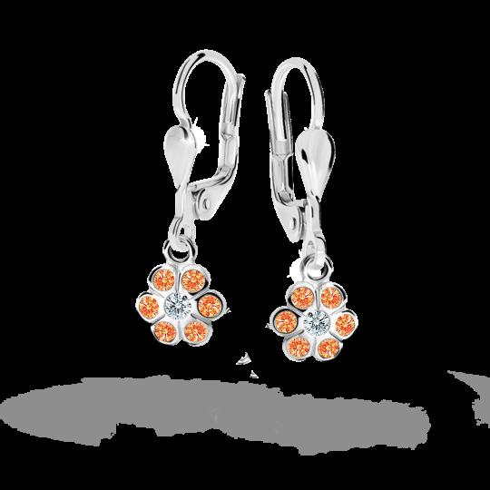 Children's earrings Danfil Flowers C1737 White gold, Orange, Leverbacks