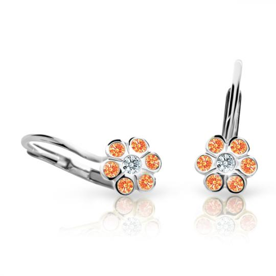 Children's earrings Danfil Flowers C1737 White gold, Orange, Leverbacks