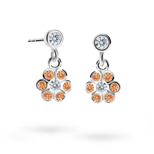 Children's earrings Danfil Flowers C1737 White gold, Orange, Screw backs