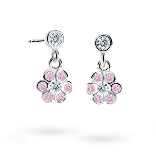 Children's earrings Danfil Flowers C1737 White gold, Pink, Butterfly backs