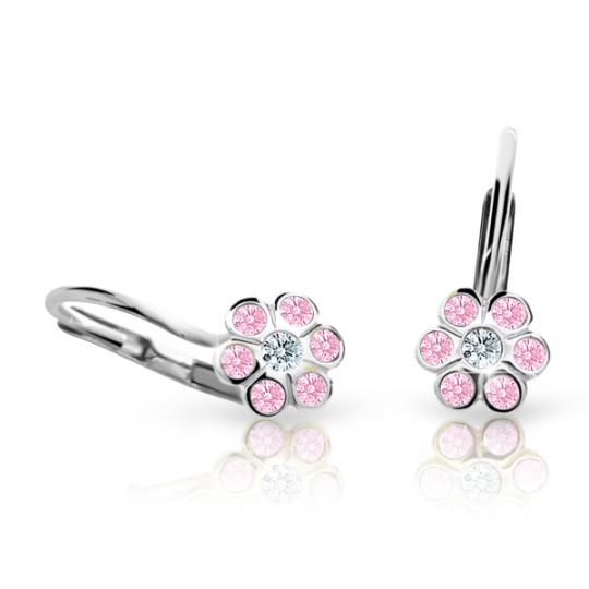 Children's earrings Danfil Flowers C1737 White gold, Pink, Leverbacks