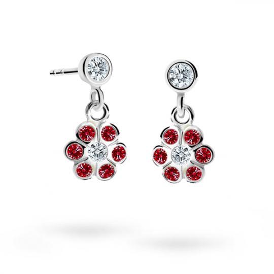 Children's earrings Danfil Flowers C1737 White gold, Ruby Dark, Butterfly backs