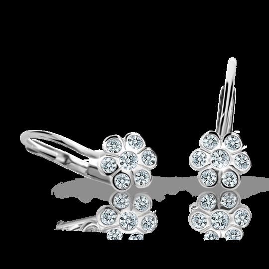 Children's earrings Danfil Flowers C1737 White gold, White, Leverbacks